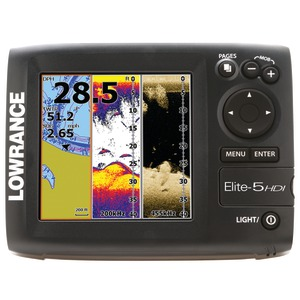 Elite-5 HDI Gold Fishfinder with 83-200 + 455-800kHz Transducer