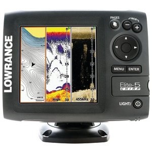 Elite-5 CHIRP Gold Fishfinder-Chartplotter with XDCR 83-200-455-800 Transducer