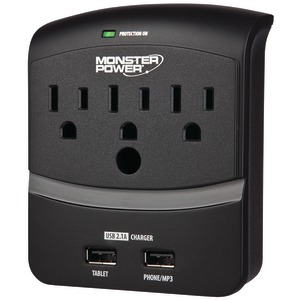 MONSTER 3-Outlet Core Power(R) 350 Wall Tap with 2 USB Ports 121822