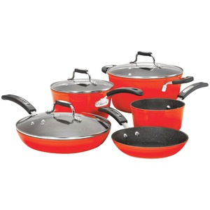 THE ROCK BY STARFRIT THE ROCK(TM) by Starfrit(R) 8-Piece Cookware Set with Bakelite(R) Handles (Red) 034612-001-0000