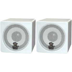 3 Inch. 100-Watt Mini-Cube Bookshelf Speakers (White)