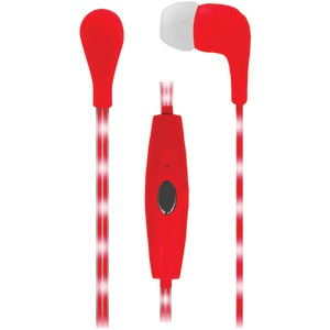 NAXA Red VECTOR Earphones with LED Cord NE-951 RED