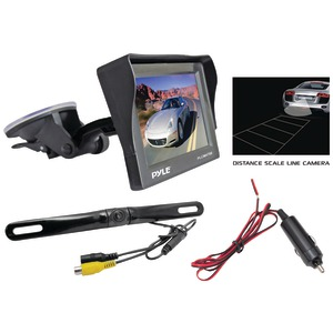 PYLE 4.7'' Window-Suction-Mount TFT LCD Monitor with Die-Cast License Plate Mount Rearview Backup Color Camera & Distance Scale Line PLCM4700