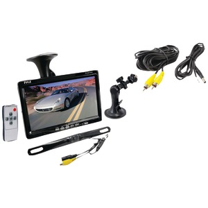 PYLE 7 Inch. Window-Suction-Mount TFT LCD Widescreen Monitor & License Plate Mount Rearview Color Camera with Distance Scale Line PLCM7500