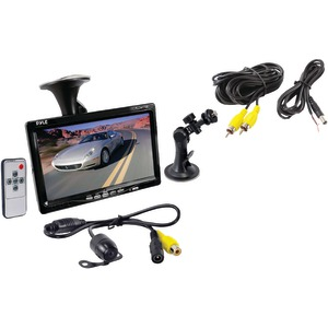 PYLE 7 Inch. Window Suction Mount TFT LCD Widescreen Monitor & Universal Mount Rearview Color Camera with Distance Scale Line PLCM7700