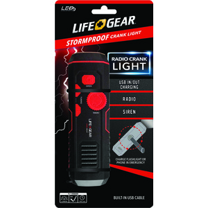 LIFE+GEAR 120-Lumen Stormproof USB Crank Flashlight & Radio LG38-60675-RED