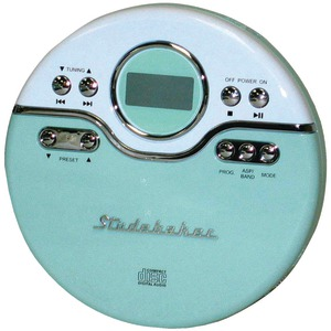 STUDEBAKER Personal Jogging CD Player with FM PLL Radio (Mint Green/White) SB3703MW