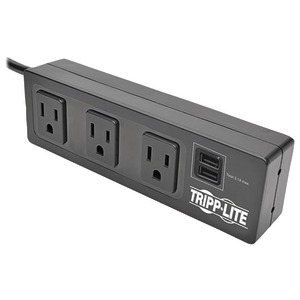 TRIPP LITE Protect It!(R) 3-Outlet Surge Protector with 2 USB Ports & Desk Clamp TLP310USBC