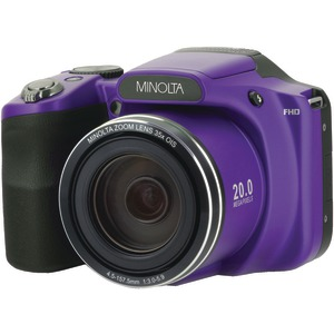MINOLTA 20-Megapixel 1080p Full HD Wi-Fi MN35Z Bridge Camera with 35x Zoom (Purple) MN35Z-P