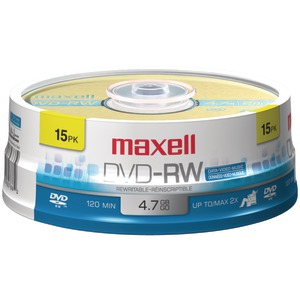 MAXELL 4.7GB DVD-RW (15-ct Spindle) 635117