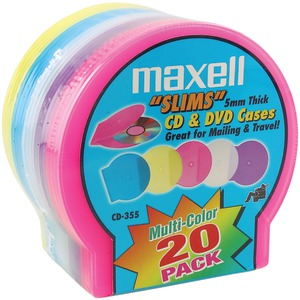 MAXELL Slim CD-DVD Jewel Cases 20 pk (Assorted Colors) 190073