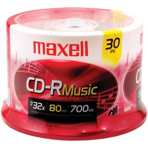MAXELL 80-Minute Music CD-Rs (30-ct Spindle) 625335