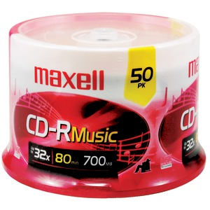 MAXELL 80-Minute Music CD-Rs (50-ct Spindle) 625156 - CDR80MU50PK