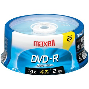 MAXELL 4.7GB DVD-Rs (25-ct Spindle) 635052/638010