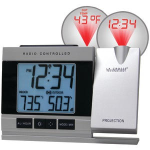 LA CROSSE TECHNOLOGY Atomic Projection Alarm Clock with Indoor & Outdoor Temperature WT-5220U-IT-CBP