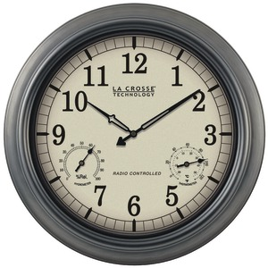 LA CROSSE TECHNOLOGY Indoor-Outdoor 18 Inch. Atomic Wall Clock with Thermometer Hygrometer WT-3181P