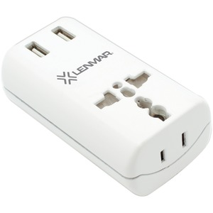 LENMAR Ultracompact All-in-One Travel Adapter with USB Port (White) AC150USBW
