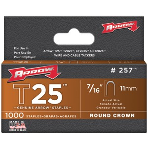 ARROW FASTENER T25 Round Crown Staples 7-16 Inch. 1000 pk 257