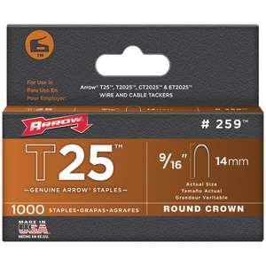 ARROW FASTENER T25 Round Crown Staples 9-16 Inch. 1000 pk 259