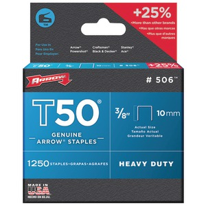ARROW FASTENER T50(R) 3-8 Inch. Staples 1250 staples per pk 50624