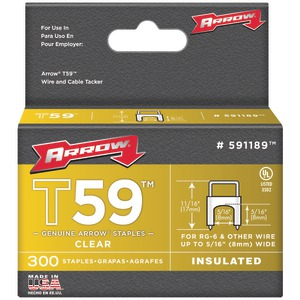 ARROW FASTENER Clear T59 Insulated Staples for RG59 quad & RG6 5-16 Inch. x 5-16 Inch. 300 pk 591189