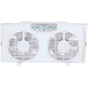 OPTIMUS 8 Inch. Reversible Twin Window Fan with Thermostat F-5286