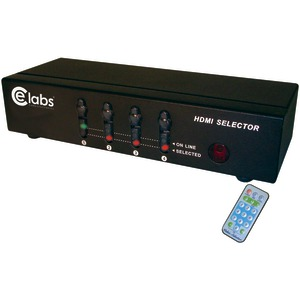 CE LABS 4-In 1-Out HDMI(R) Switcher with Remote HM41SR