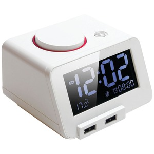 HOMTIME C1Pro Bluetooth(R) Alarm Clock with Dual USB Chargers (White) 19301