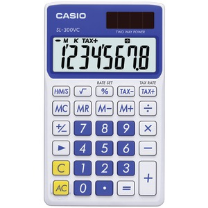 CASIO Solar Wallet Calculator with 8-Digit Display (Blue) SL300VCBESIH
