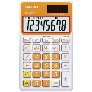 CASIO Solar Wallet Calculator with 8-Digit Display (Orange) SL300VCOESIH