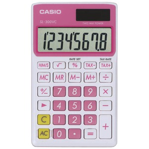CASIO Solar Wallet Calculator with 8-Digit Display (Pink) SL300VCPKSIH