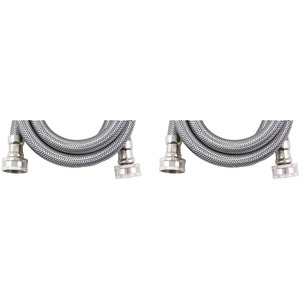 Braided Stainless Steel Washing Machine Connectors 2 pk