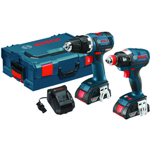 BOSCH(R) Brushless 1/4 inch. & 1/2 inch. Socket-Ready Impact Driver & Brushless Compact Tough(TM) 1/2 inch. Drill/Driver 18-Volt Cordless Combo Kit CLPK233-181