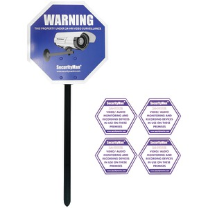 SECURITY MAN Reflective Security Warning Sign with Yard Stake SM-SIGN