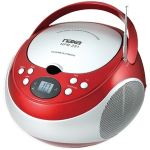 NAXA Portable CD Player with AM-FM Radio (Red) NPB251RD