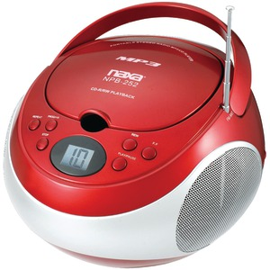NAXA Portable CD-MP3 Player with AM-FM Stereo (Red) NPB252RD