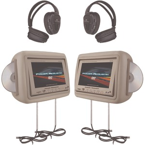 POWER ACOUSTIK 8.8 Inch. Preloaded Universal Headrest Monitors with Twin DVD Player Combo IR & FM Transmitters & 2 Pair of Headphones (Beige) HDVD-9BG