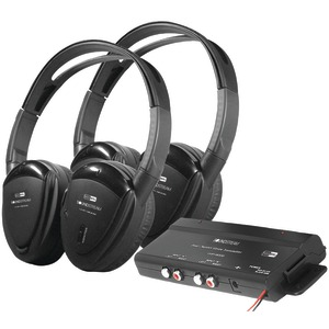 POWER ACOUSTIK 2 Sets of 2-Channel RF 900MHz Wireless Headphones with Transmitter HP-902RFT
