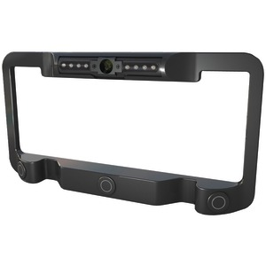 POWER ACOUSTIK License Plate Frame with Color Camera Object Sensor & IR LEDs (Black) LP-2CSB