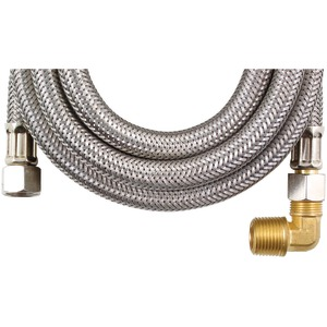 Braided Stainless Steel Dishwasher Connectors with Elbow (120 Inch.)