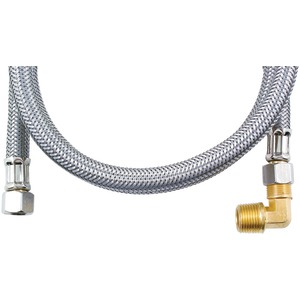 Braided Stainless Steel Dishwasher Connectors with Elbow (48 Inch.)