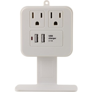 GE 2-Outlet Surge Protector Wall Tap with Phone Shelf & 2.1A USB Charging 14627