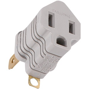 GE Polarized Grounding Adapter Plug (Gray) 58900
