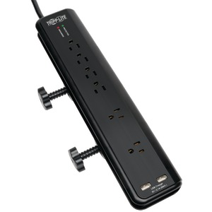 TRIPP LITE 6-Outlet Surge Protector with Clamps & 2 USB Ports TLP606DMUSB