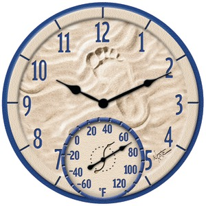TAYLOR 14 Inch. By the Sea Poly Resin Clock with Thermometer 91501
