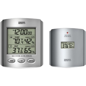 TAYLOR Wireless Thermometer with Indoor-Outdoor Humidity & Clock 91756