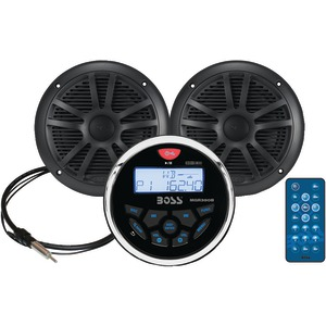 BOSS AUDIO Marine Gauge System with Mechless AM-FM Receiver Speakers & Antenna (Black Speakers) MCKGB350B.6