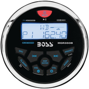BOSS AUDIO In-Dash Marine-Gauge Mechless AM-FM Receiver with Bluetooth(R) MGR350B