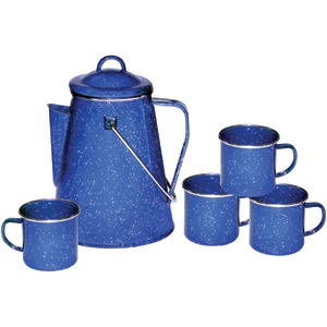 STANSPORT Enamel 8-Cup Coffee Pot with Percolator & Four 12-Ounce Mugs 11230