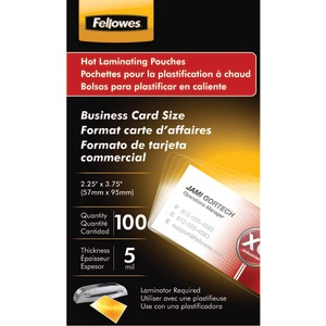 FELLOWES Business Card Laminating Pouches 100 pk 52031